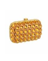 Bolsa Clutch em Metal e Pedras Dourada